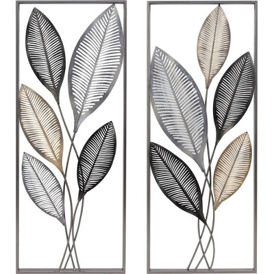 """14"""" x 1.5"""" x 35.5"""" Metallic Leaves Wall Decor Set Antique Gold - FirsTime & Co."""