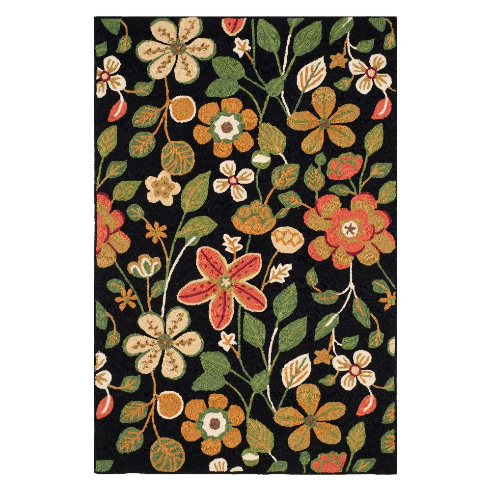 5X7 Floral Area Rug Black - Safavieh Price