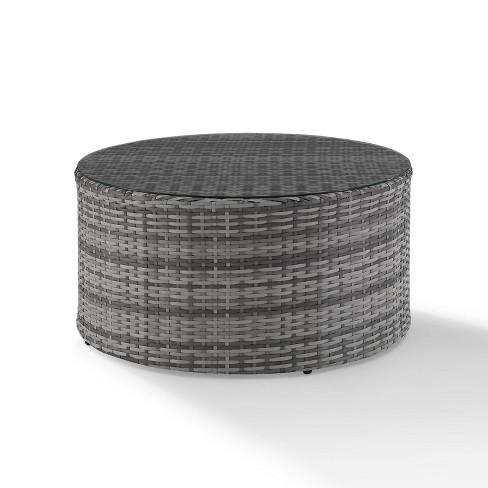 catalina outdoor wicker round coffee table gray crosley