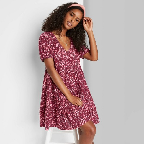 Women's Floral Print Short Sleeve Tiered Babydoll Dress - Wild Fable™ - image 1 of 3