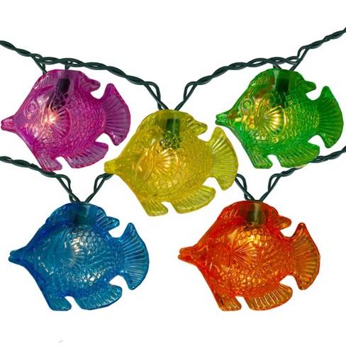 """Kurt S. Adler Set of 10 Multi Color Tropical Angel Fish Novelty Lights 11'7"""" Lighted Length - image 1 of 2"""