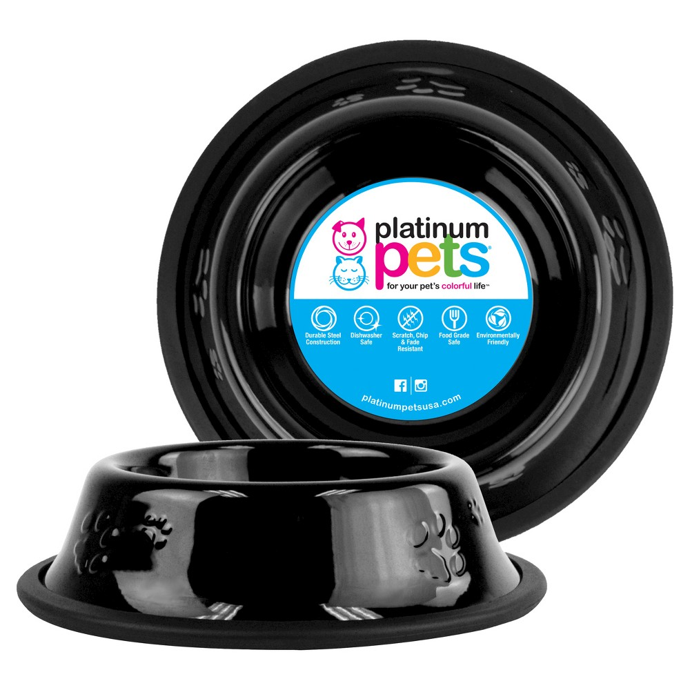 Platinum Pets Embossed Non-Tip Cat/Dog Bowl - Midnight Black - .75 Cup