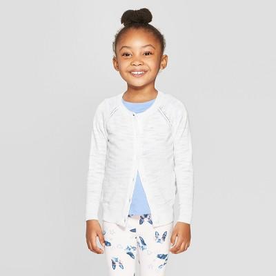 Toddler Girls' Long Sleeve Cardigan - Cat & Jack™ White 18M