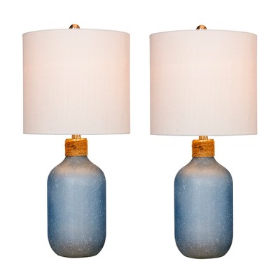 2pk Island Jug Glass Table Lamps Blue - Fangio Lighting