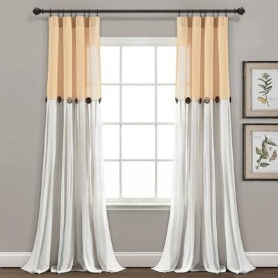Linen Button Light Filtering Window Curtain Panel - Lush Décor