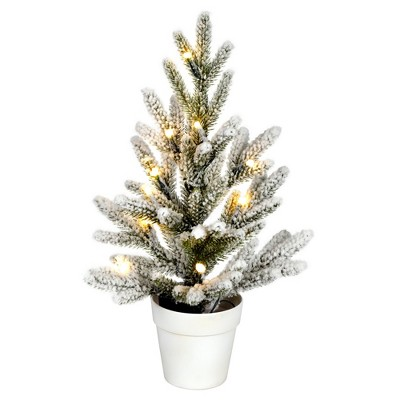 """Vickerman 14"""" x 10"""" Flocked Mica Pine Artificial Christmas Tree, Battery Operated Warm White LED Lights"""