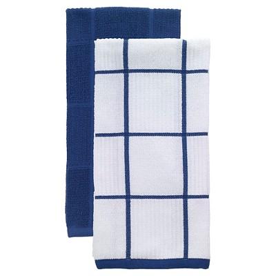 Bright Blue Parquet Kitchen Towel 2 Pack (16 x26 )T-Fal