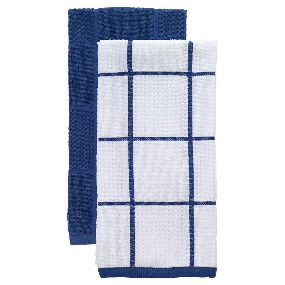 "Image of ""Bright Blue Parquet Kitchen Towel 2 Pack (16""""x26"""") T-Fal"""