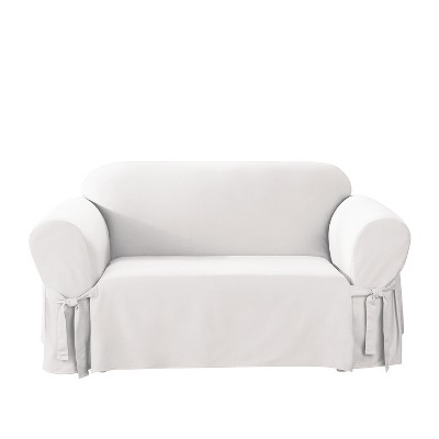 Cotton Duck Loveseat Slipcover White - Sure Fit