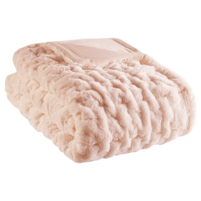"50""x60"" Ruched Faux Fur Throw Blanket"