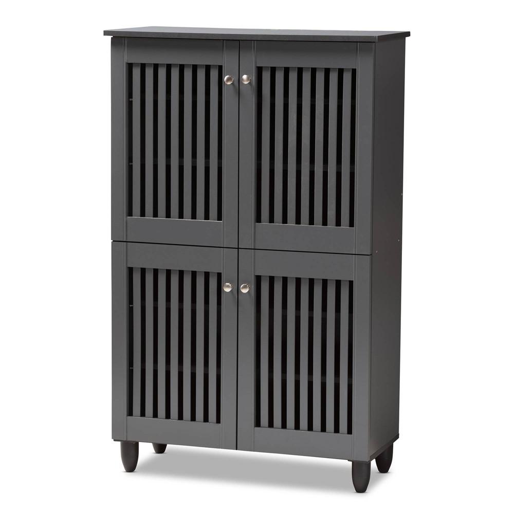Fernanda 4 Door Wooden Entryway Shoe Storage Cabinet Dark Gray - Baxton Studio