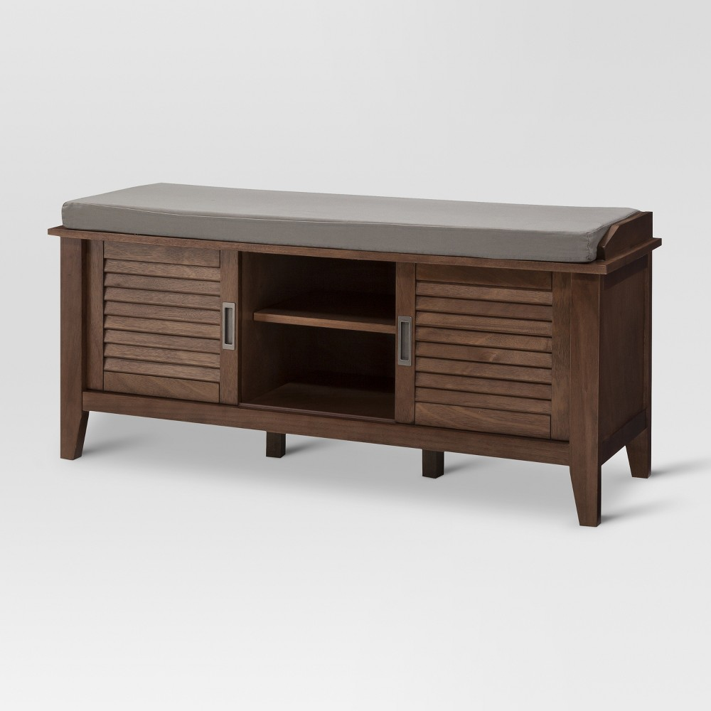Storage Bench with Slatted Doors - Chestnut (Brown) - Threshold