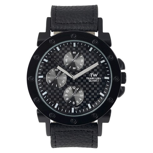 Men's Territory Round Face Simulated Leather Band Watch - Black - image 1 of 3