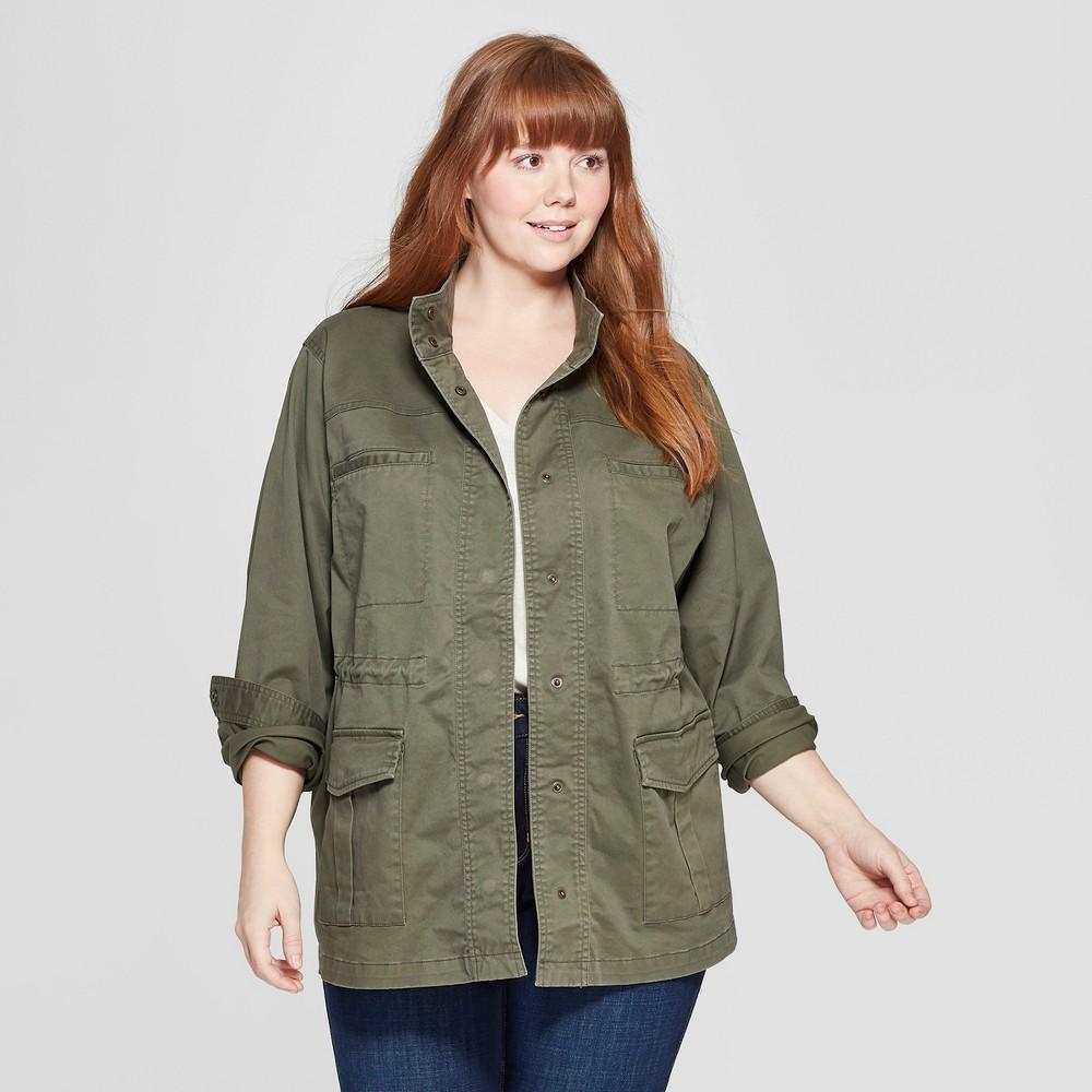 Women's Plus Size Long Sleeve Utility Jacket - Universal Thread Olive 4X, Green