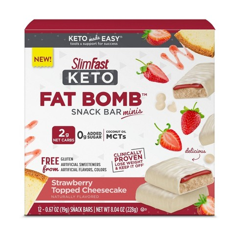 SlimFast Keto Fat Bomb Snack Bar Minis - Strawberry Topped Cheesecake - 12ct - image 1 of 3