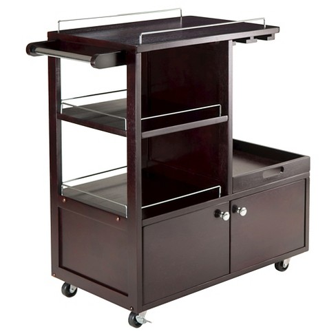 Galen Entertainment Cart With Serving Tray Wood Espresso Winsome