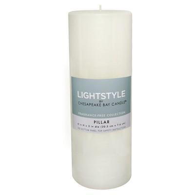 Fragrance Free Pillar Candle - White - 3 x8  - Chesapeake Bay Candle