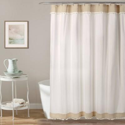 Adelyn Pom Pom Shower Curtain Neutral - Lush Décor