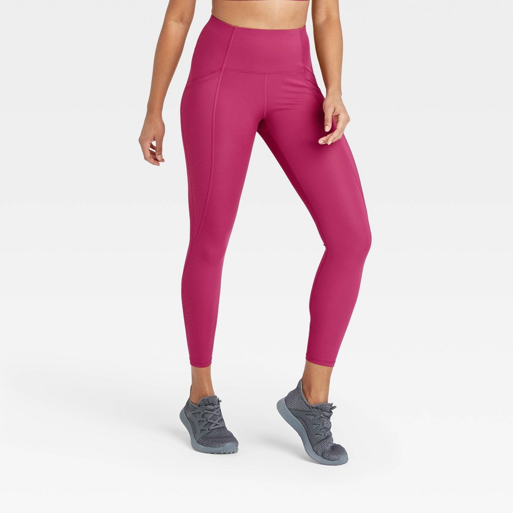 Women 39 S Sculpted Linear Laser Cut High Waisted 7 8 Leggings 25 34 All In Motion 8482 Cranberry L
