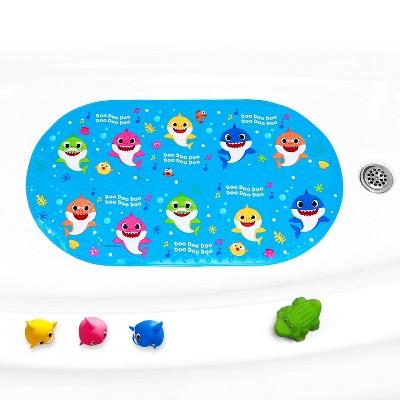 "Pinkfong Baby Shark Oval Bubble Bath Tub Mat 15.25""x27"""