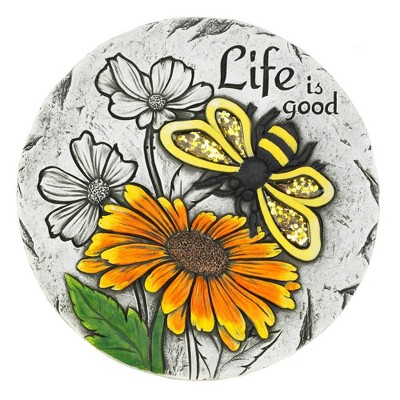 """Cement """"Life is Good"""" Sunflower Stepping Stone - Zingz & Thingz"""