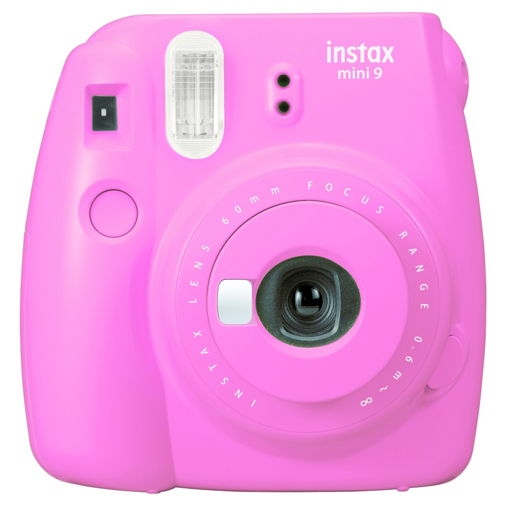 Fujifilm Instax Mini 9 Camera - Flamingo Pink Capture special moments with the new Fujifilm Instax Mini 9 camera that utilizes film packs (not included) to instantly provide you with photos. The new Instax Mini 9 cameras will also have a selfie mirror (similar to the Mini 25 and Mini 70) and will come with a Macro lens attachment. Color: Flamingo Pink.