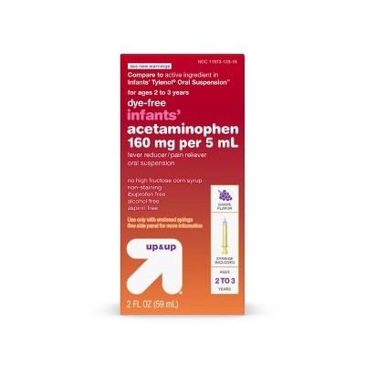Infants' Dye-Free Acetaminophen Fever Reducer/Pain Reliever Liquid - Grape - 2 fl oz - up & up™