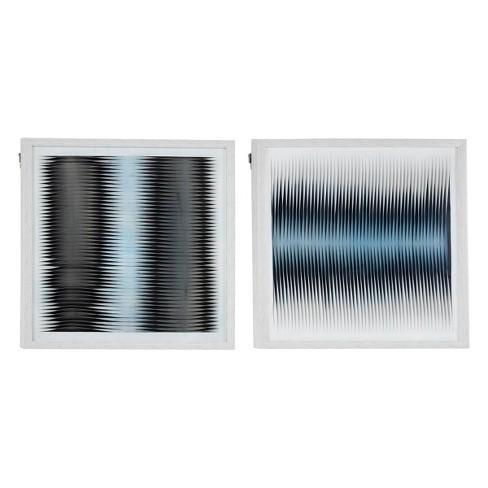 "(Set of 2) 23.5"" Square Fabric Shadow Box Abstract Wall Art Black/White/Blue - Olivia & May - image 1 of 4"