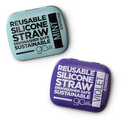 GoSili 2pk Standard Straw Tins - Violet/Mint