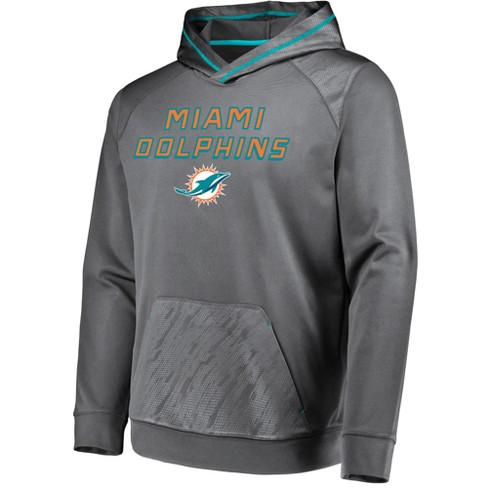 Nice NFL Miami Dolphins Men's Geo Fuse Gray Embossed Performance Hoodie
