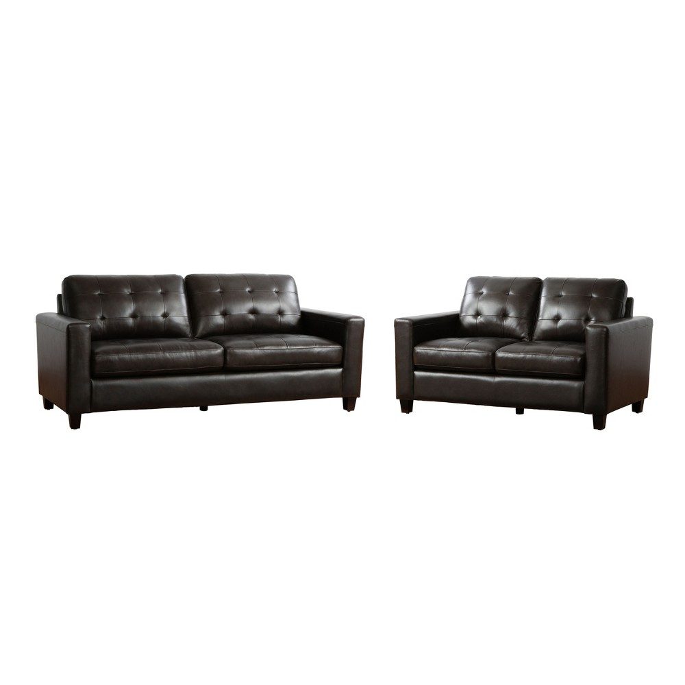 Image of 2pc Libson Top Grain Leather Sofa & Loveseat Set Brown - Abbyson Living