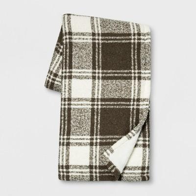 60 x50  Plaid Boucle Throw Blanket Neutral - Threshold™