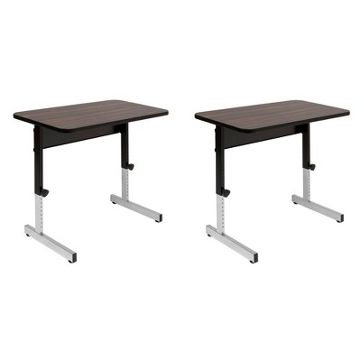 "Studio Designs Adapta 36"" x 20"" Manual Height Adjustable Desk, Walnut (2 Pack)"