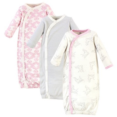 Touched by Nature Baby Girl Organic Cotton Kimono Long-Sleeve Gowns 3pk