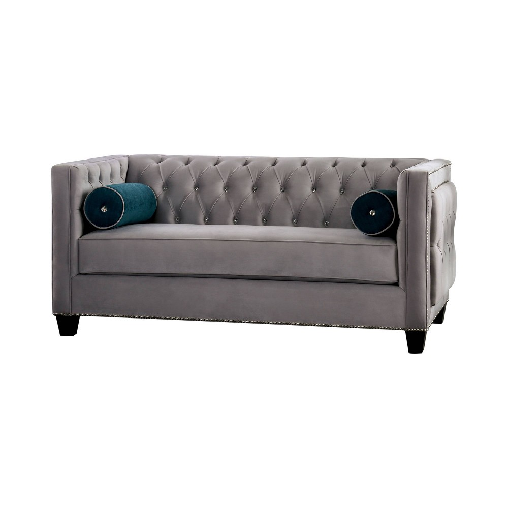 Veneta Tufted Tuxedo Loveseat Gray - Homes: Inside + Out