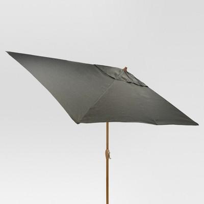 6.5' x 10' Rectangle Umbrella - Charcoal - Medium Wood Finish - Threshold™