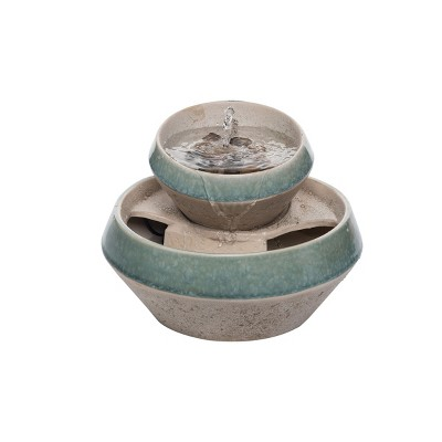 Teal and Tan Tiered Indoor Water Fountain With Pump - Foreside Home & Garden