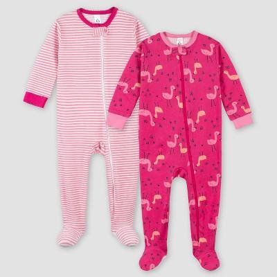 Gerber Girls' 2pk Footed Pajama - Pink 6M