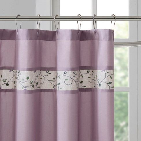 Monroe Embroidered Floral Shower Curtain Purple Target