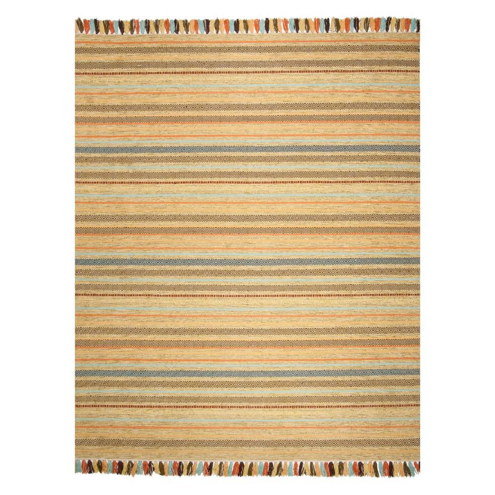 8'X10' Stripe Woven Area Rug Green - Safavieh, Green/Multi-Colored