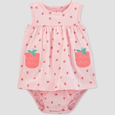 Baby Girls' Strawberry Sunsuit - Just One You® made by carter's Pink 18M