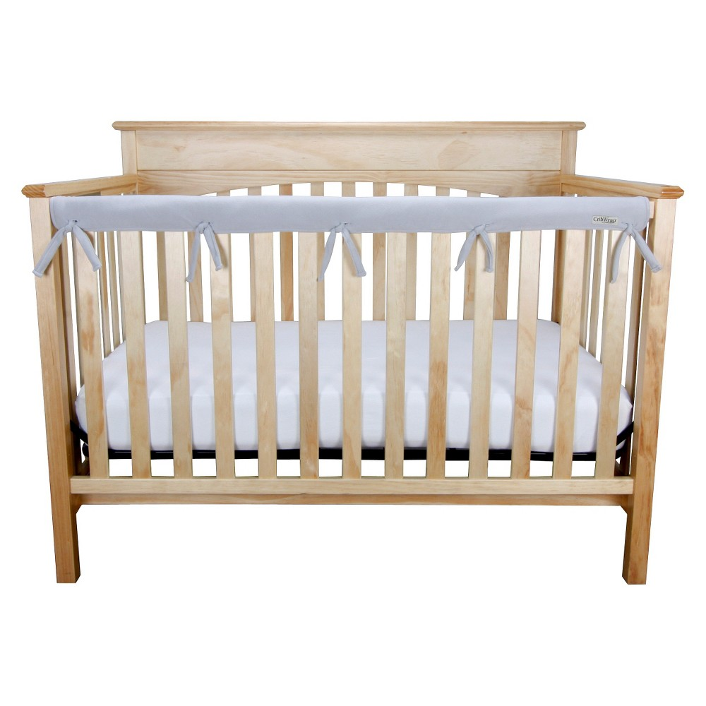 Image of Long Gray Fleece Crib Rail Cover