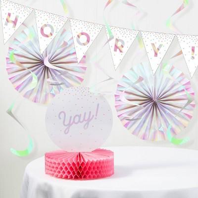 """""""Hooray Yay"""" Iridescent Party Decoration Kit"""