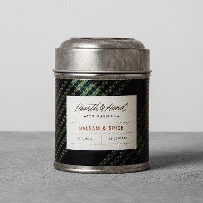 Tin Container Candle 7.6oz - Balsam & Spice - Hearth & Hand™ with Magnolia