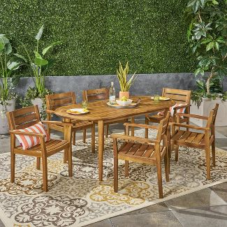 Midvale 7pc Acacia Wood Dining Set - Teak - Christopher Knight Home