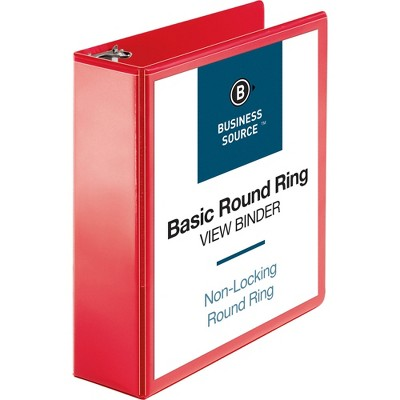 "Business Source View Binder Round Ring 3"" Red 09969"