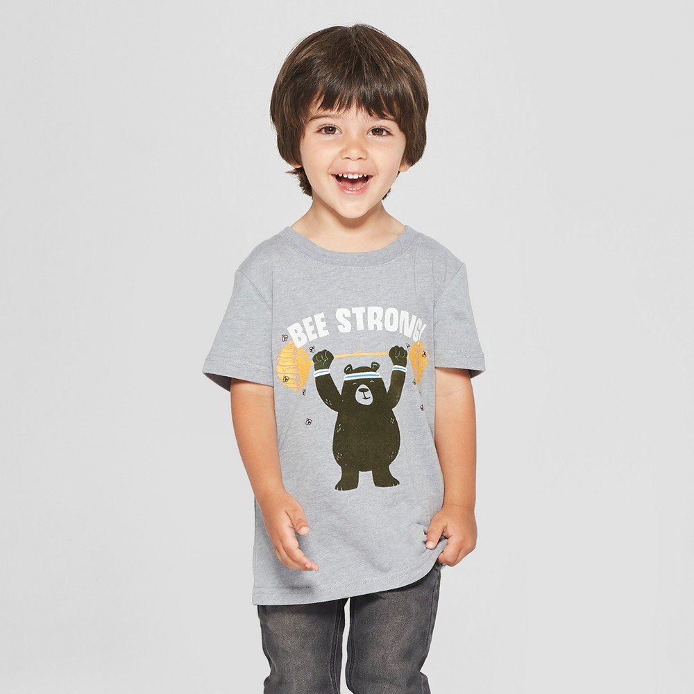 Toddler Boys' Bee Strong Graphic Short Sleeve T-Shirt - Cat & Jack Gray 4T