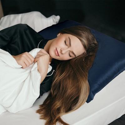 """1 Pc 20"""" x 26"""" Silk Pillow Case Navy Blue - PiccoCasa"""