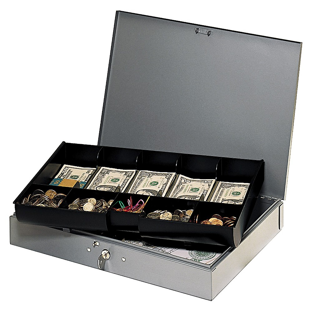 SteelMaster Extra-Wide Steel Cash Box w/10 Compartments, Key Lock, Gray, Grey