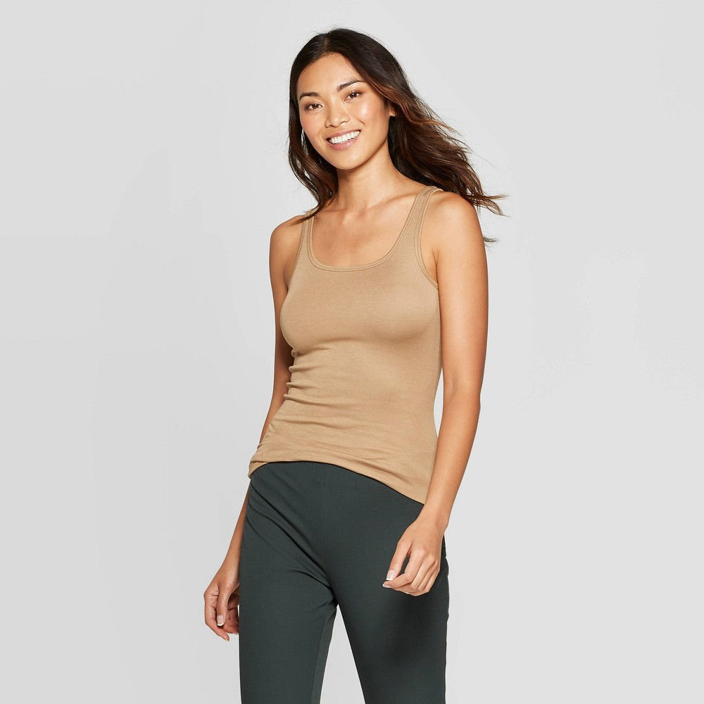 Women's Regular Fit Scoop Neck Tank Top - A New Day Gold M